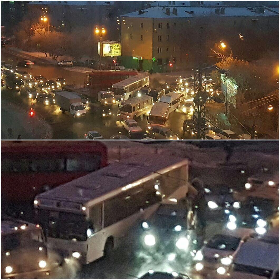 Утром 10января вИркутске образовались девятибалльные пробки